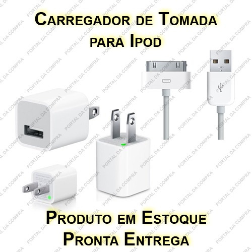 Carregador De Tomada + Cabo Usb P/ Apple Ipod Iphone