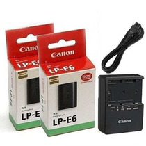 2 Baterias Canon Lp-e6 Original+ Carregador Lc-e6e 60d 7d 5d