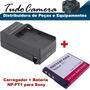 Carregador + Bateria Np-ft1 P/ Sony Dsc- T3 T33 T5 T9 U40