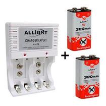 Kit Carregador Pilha Aaa Aa 9v + 2 Baterias Recarregável Nfe