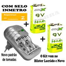 Kit5 Carregador Pilha Aaa Aa 9v + 2 Baterias Recarregável Nf