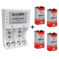 Kit Carregador Pilha Aaa Aa 9v + 4 Baterias Recarregável Nfe