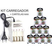 Kit Carregador + 10 Cartelas De Pilhas Aaa Maxday