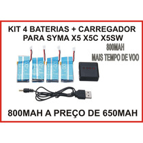 Bateria 800mah P/ Syma X5c,x5 X5sw Kit Com 4 Uni+ Carregador