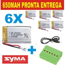 Kit 6 Baterias + Carregador P Drone Syma X5c X5sw