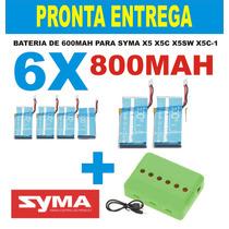 Bateria 800mah P/ Syma X5c,x5 X5sw Kit Com 6 Uni+ Carregador