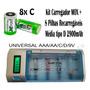Kit Carregador Fx-c06 + 8 Pilhas Médias C 2900mah Rec + Nf-e