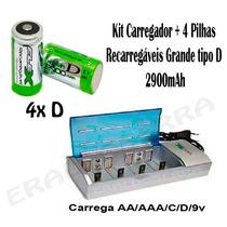 Kit Carregador Fx-c06 + 4 Pilhas Grande D 2900mah Rec + Nf-e
