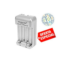 Gadgetfacil - Carregador De Pilhas Golden Time + 2 Pilhas Aa