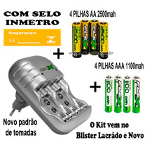 Kit Carregador + 4 Pilhas Aa, 4 Aaa E 2 Bateria 9v Recarr Nf