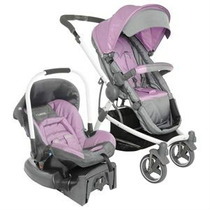 Carrinho + Bebê Conforto + Base Lenox Aspen Cinza/rosa!