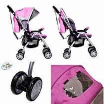 Carrinho De Bebê Berço E Passeio Alumínio Rosa Baby Style !