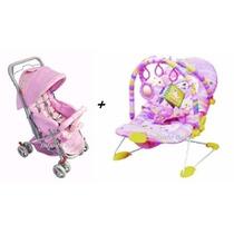 Carrinho De Bebê Berço E Passeio + Cadeira De Descanso Vibra