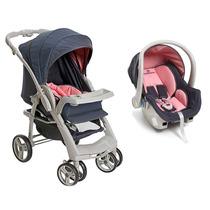 Carrinho De Bebê Optimus E Bebê Conforto Cocoon - Rosa