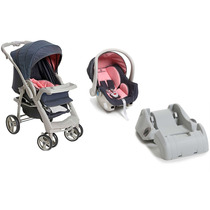 Carrinho De Bebê Travel System Optimus Rosa + Base Galzerano