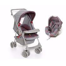 Carrinho Com Bebê Conforto Cinza Travel System Galzerano
