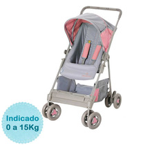 Carrinho De Bebê - - Riviera - Cinza E Rosa Galzerano