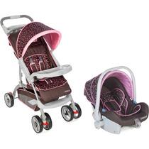 Travel System Carrinho De Bebê + Bebê Conforto Moove Rosa Bo