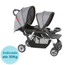 Carrinho De Bebê Para Gêmeos Twin - Cinza Galzerano