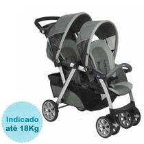 Carrinho De Bebê Para Gêmeos Together Até 18kg - Graphit
