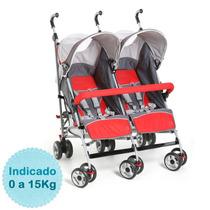 Carrinho De Bebê Gêmeos - - Zib Cinza E Vermelho Dzieco