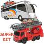 Caminhão De Bombeiro + Onibus R - Super Promoção