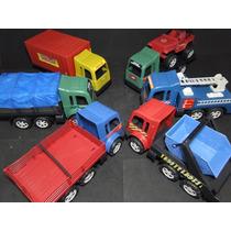 Lote Com 06 Caminhões Trucados De 32 Cm 01 Jeep