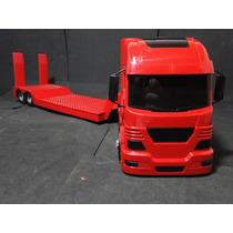 Caminhão Prancha Trator Vermelha Comp=65cm Larg=12cm A=18cm