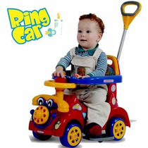 Carrinho Passeio Infantil Vermelho Ring Car Com Empurrador