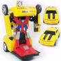 Carrinho Camaro Amarelo Vira Robô Emite Som Luz Transformers