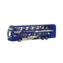 Mini Ônibus Fricção 2 Andares Azul Frete Grátis