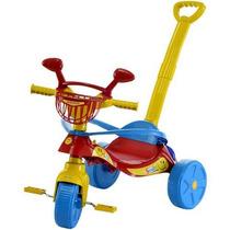 Triciclo Passeio Infantil Smile Confort Vermelho Empurrador