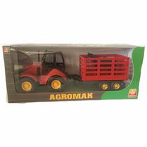 Trator Agromak - Vermelho + 2 Cavalos - Silmar Brinquedos