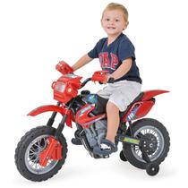 Moto Elétrica Infantil Vermelha Motocross Pequena Criança