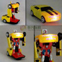 Carrinho Camaro Amarelo Transformers Robô Com Luzes E Som