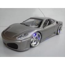 Carrinho Controle Remoto Ferrari Leds Nas Rodas E Farol Cinz