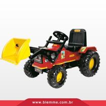 Trator Infantil Pedal Farmer Luzes E Buzina Vermelho Biemme