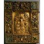 Manuscrito Cobertura Com Crucificação E Evangelista Símbolos