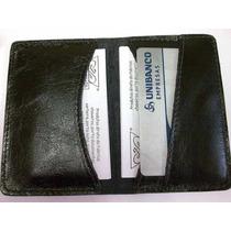 Porta Cartao Em Couro + Cartoes De Visita+ De Credito