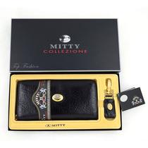 Carteira Feminina Mitty Em Couro Legítimo Com Chaveiro Z6ch