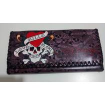 Carteira Ed Hardy Feminina Couro Rock Punk Gótica Skull