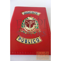 Porta Funcional Tipo Distintivo Agente Público Sp Couro P13v