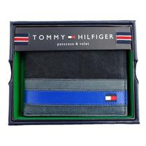 Carteira Tommy Hilfiger Em Couro Azul / Azul Escuro