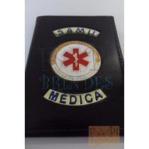 Carteira Samu Para Médica Capa Couro Legítimo Brasão P147p