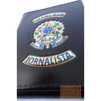 Porta Funcional Em Couro Legítimo Imprensa Jornalista C58p