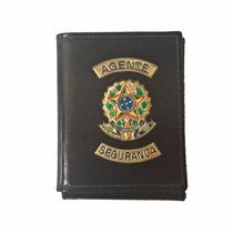 Carteira Porta Doc E Cheque Em Couro Para Agente Segurança