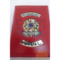 Porta Funcional Cartão Bombeiro Civil Brasão República Couro