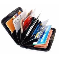 Carteira Porta Cartão Crédito Alumínio Preta