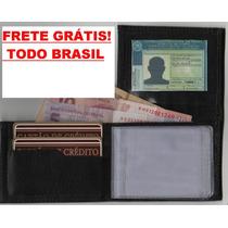 Kit 5 Peças Mini Carteira Couro Porta Cartões Dinheiro E Cnh
