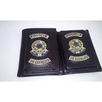 Carteira Porta Funcional Polícia Do Exercito Com 2 Brasoes